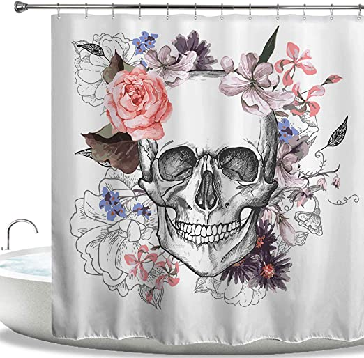 Horror Skull Black Background Fabric Shower Curtain Set /& Hooks Bathroom Decor