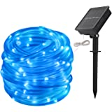 Christmas Decorative Lights, LTE Blue Solar Rope Lights, 100 LED, 8 Lighting Modes, 33ft Outdoor Waterproof String Light for Christmas, Lawn, Weddings, Parties (Blue)