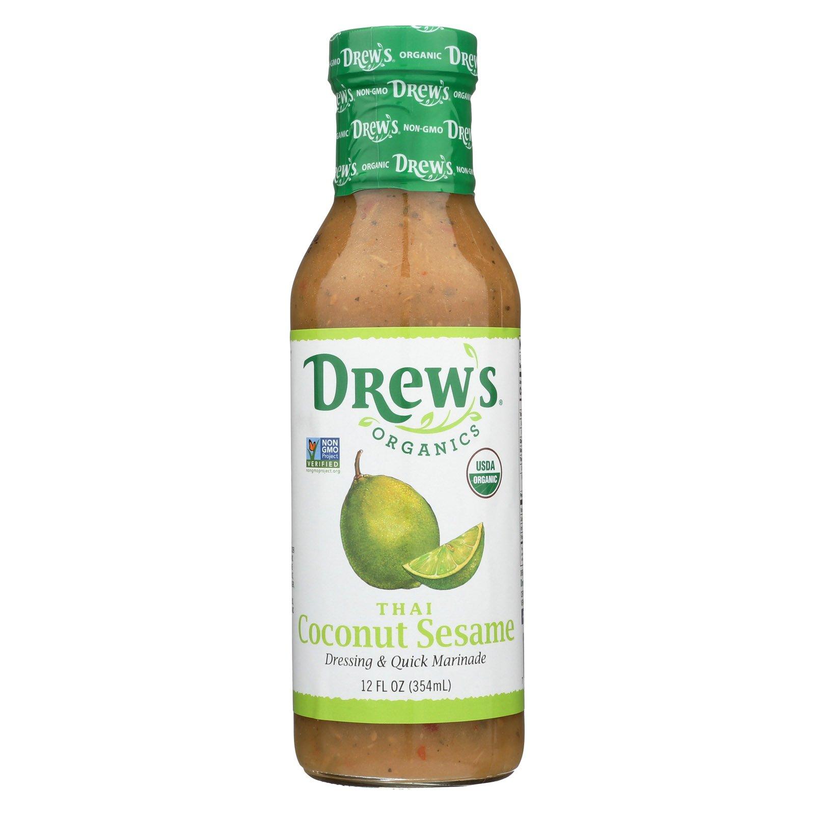 Drew's Organics Organic Dressing and Quick Marinade - Thai Coconut Sesame - 12 Fl. Oz. - Case of 6 by Drew's Organics