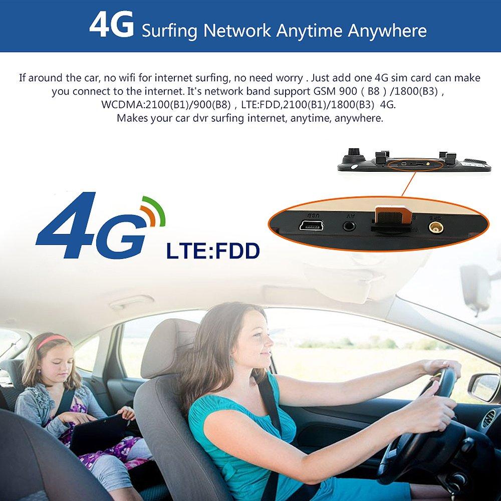 junsun 4G 7'' Dash Cam Car Camera DVR GPS Bluetooth Dual Lens Rearview Mirror Video Recorder Full HD 1080P Automobile DVR Mirror by junsun (Image #4)