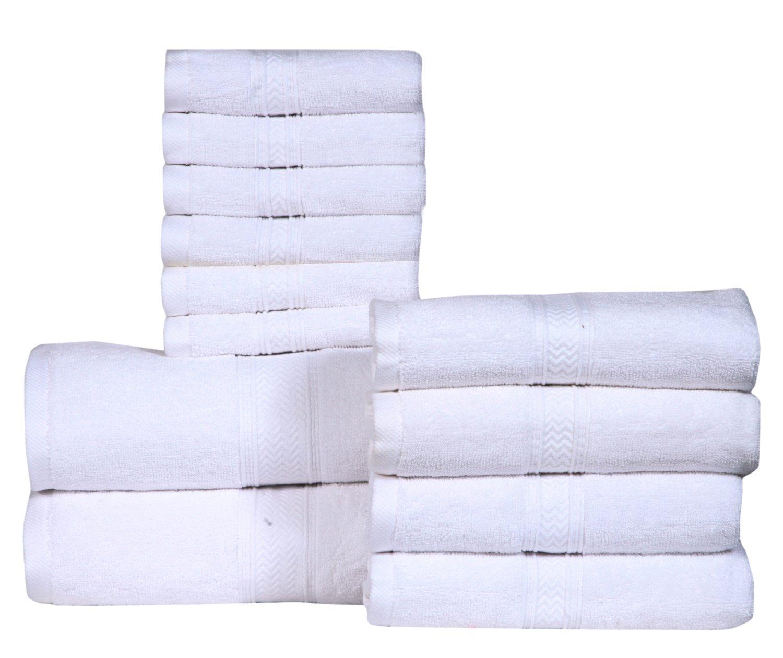 HILLFAIR Bath Towels Set (12 Piece Towel Set, Pure White)