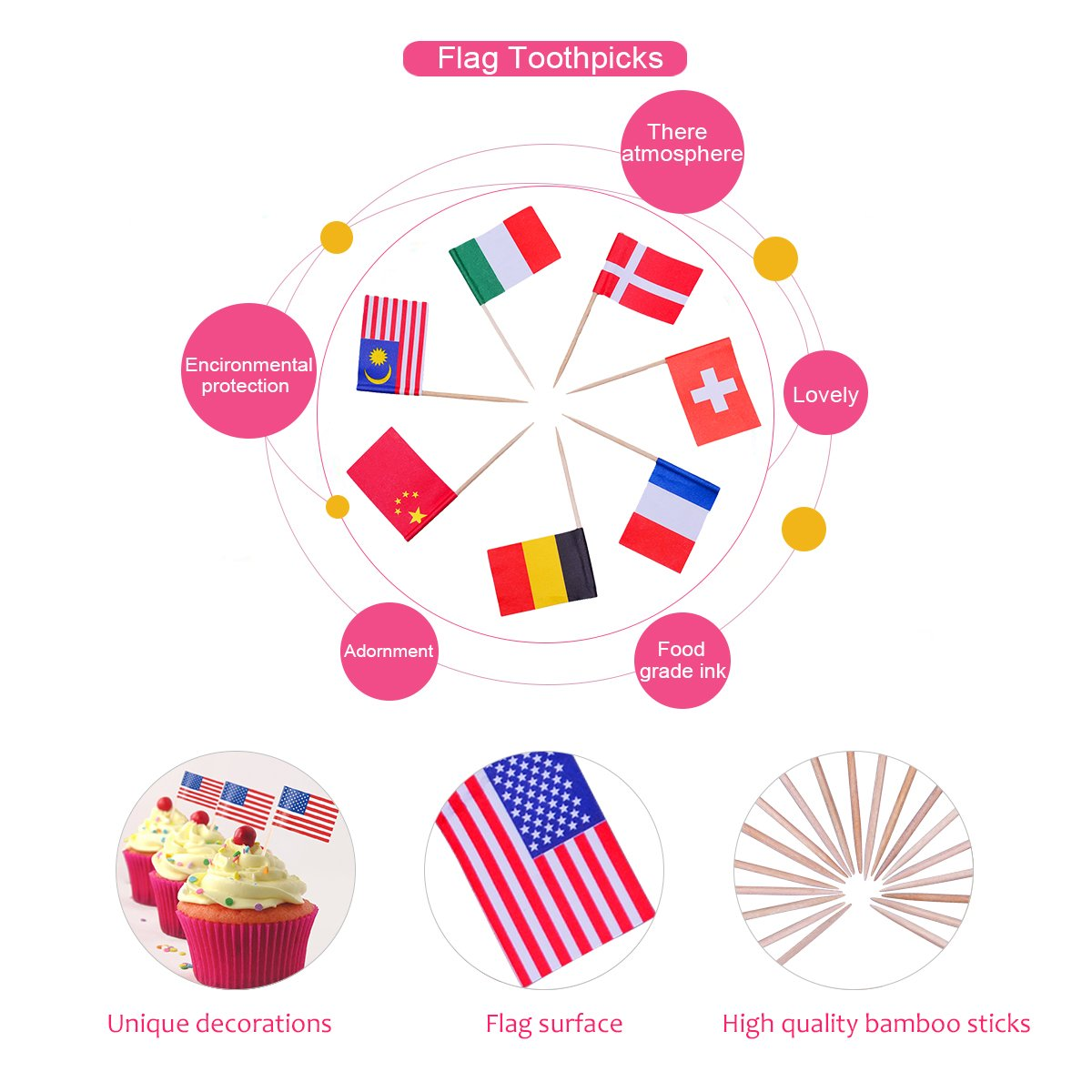 YoungRich 100 Pack World Flag Sticks International Flags and Banners Toothpicks Cocktail Sticks Cupcake Picks Banner Innovative Design One-off for Bar Sports Clubs Party Events Decoration Multicolor