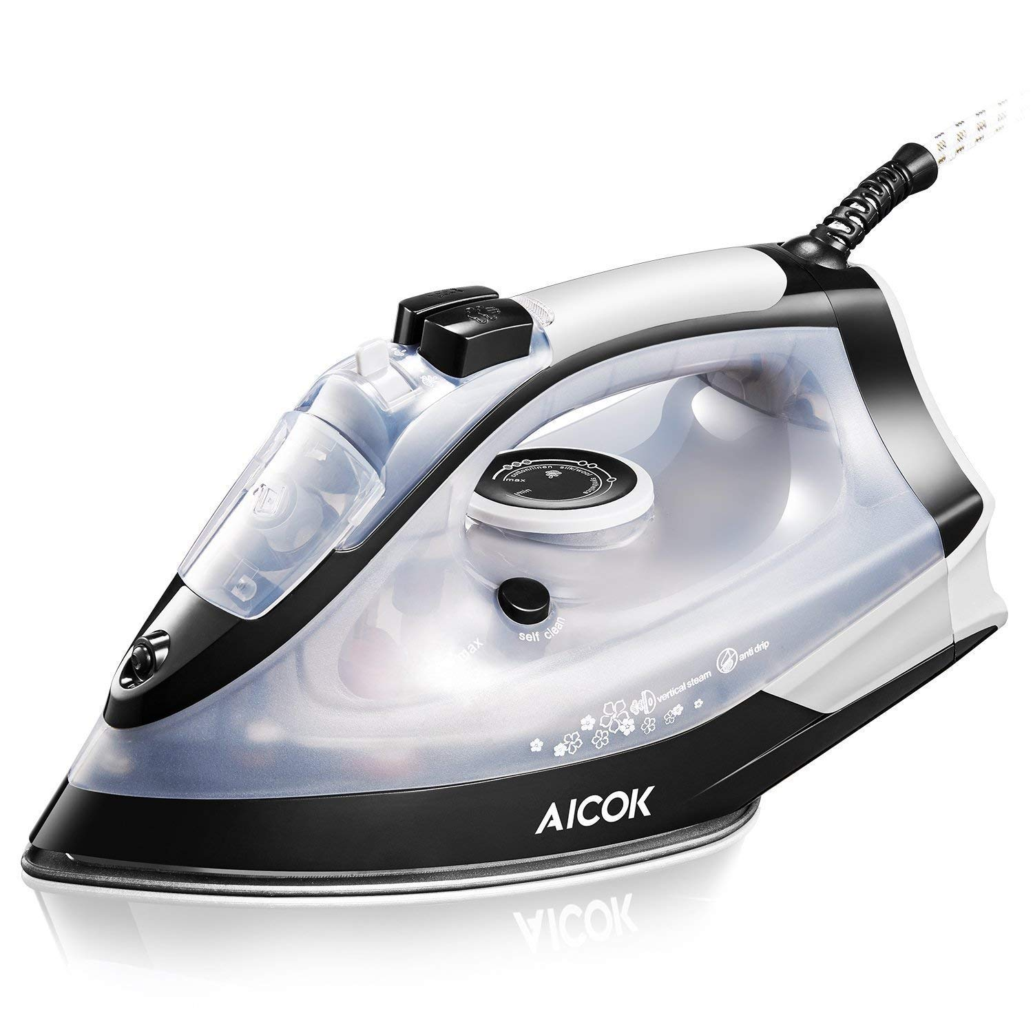 Steam Iron, Aicok Anti-Scale Iron, Vertical Steam Iron with Steam Boost and Non-Stick Soleplate, 5 Modes of Temperature Control, 2200w, Black and White