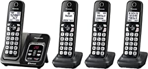 Panasonic KX-TG744SK Link2Cell Bluetooth Cordless Phone with Voice Assist and Answering Machine - 4 Handsets (Renewed)