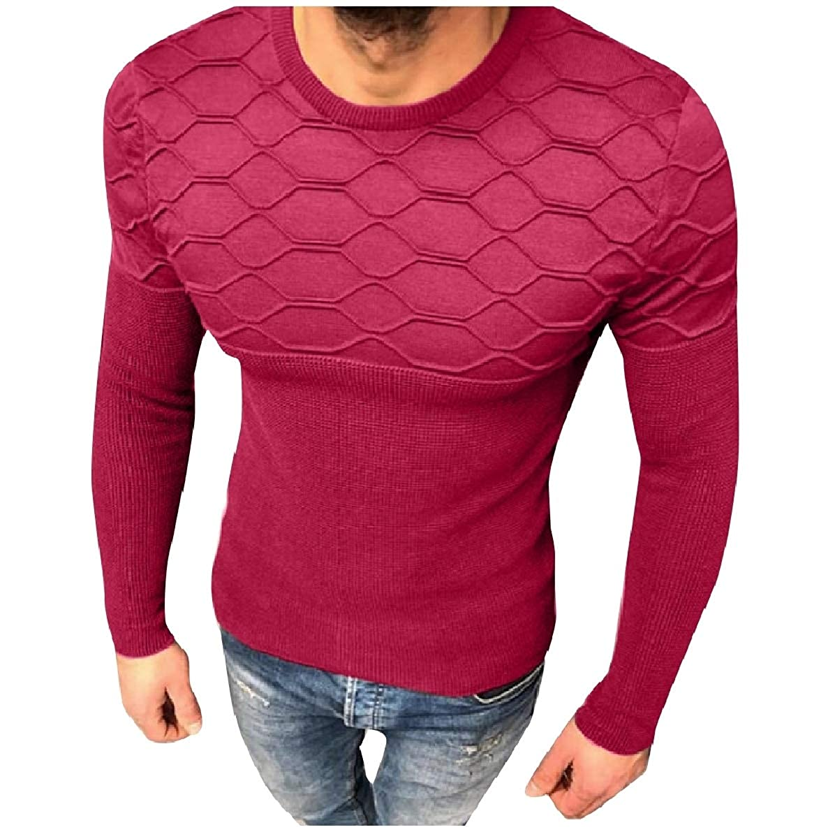 Comaba Men Knit Plaid Fashion Solid Color Pullover Fall Winter Sweater