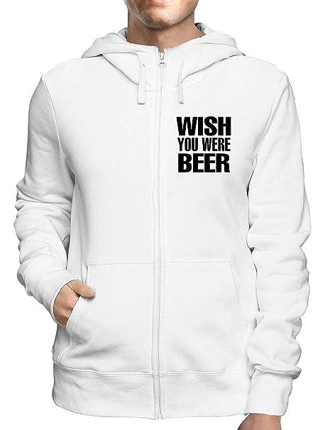 Sudadera con Capucha Zip Blanco WTC0362 Wish You were Beer: Amazon.es: Ropa y accesorios