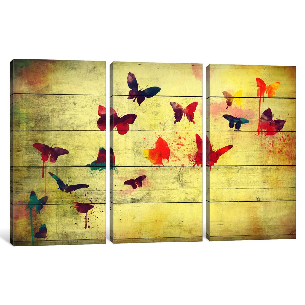 40 by 60//0.75 Deep iCanvasART 3 Piece Flutter Away Canvas Print by Darklord