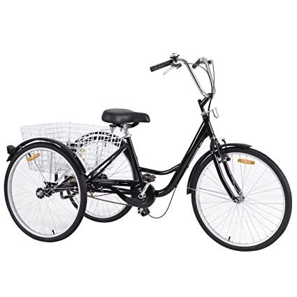 Outstanding Amazon Com Black Steel 26 Single Speed Adult Tricycle Bralicious Painted Fabric Chair Ideas Braliciousco