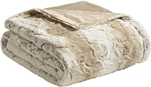 Madison Park Zuri Luxury Faux Fur Oversized Throw Premium Soft Cozy Brushed For Bed, Coach or Sofa, 60x70, Sand