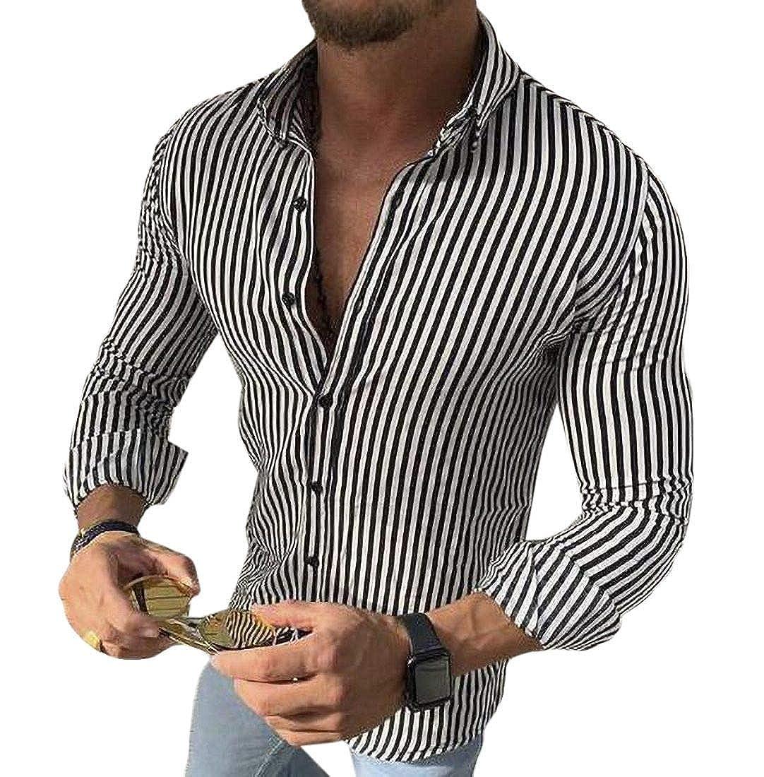Abeaicoc Men Button Down Long Sleeve Slim Fit Stylish Striped Shirts