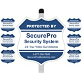 "1 ""Protected By SecurePro Security System"" Yard Sign (9"" x 9"") Mounted on a 36"" Long Stake Post with 6 Security Alarm System Stickers Included - Blue & White"