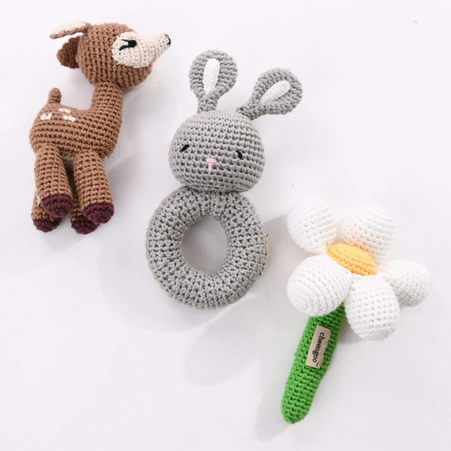 Cheengoo Organic Baby Toy Rattles - Crochet Woodland Themed Set of 3