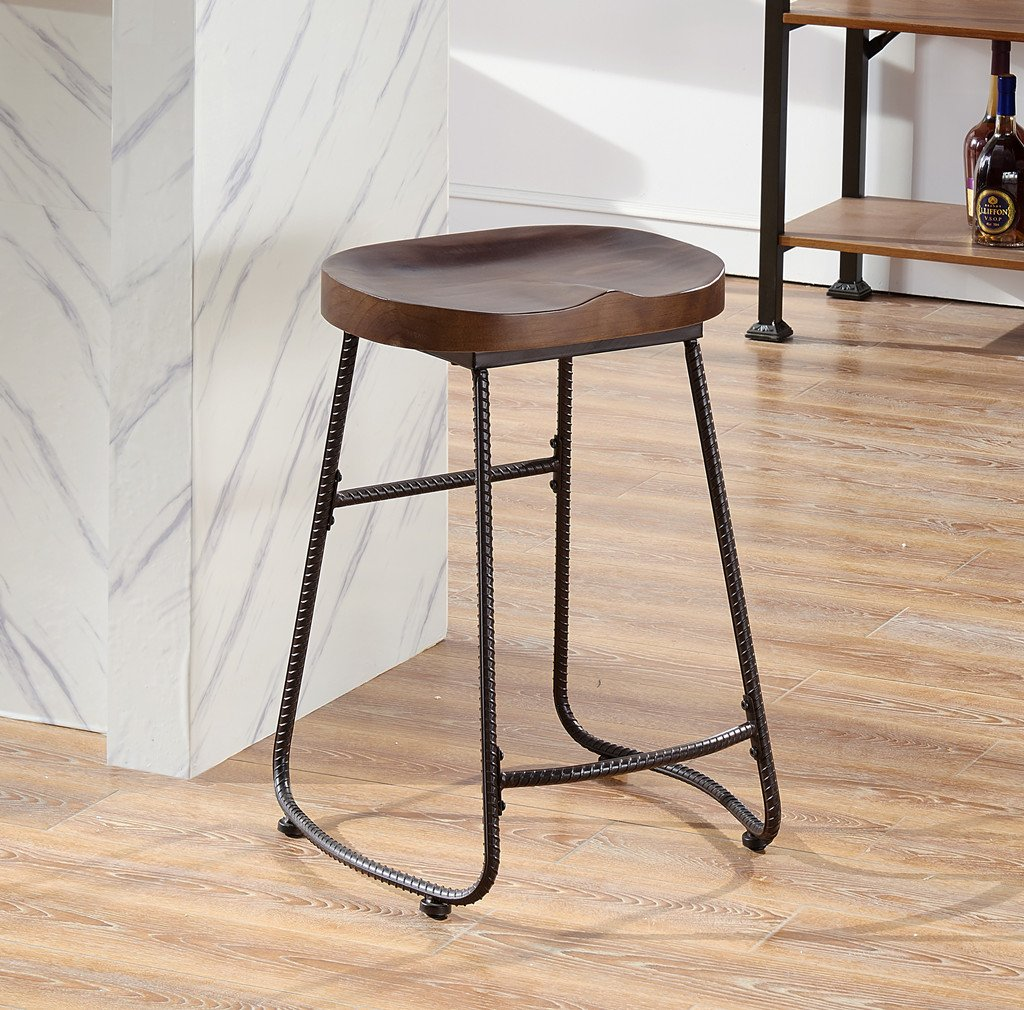 Amazon com ok furniture contoured saddle seat 24 inch backless bar stool chair for home kitchen island or counter wooden barstool with metal leg