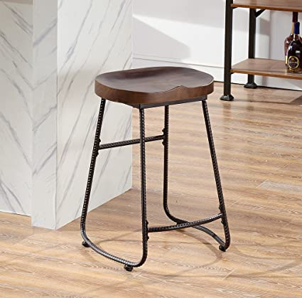 Etonnant Ou0026K Furniture Contoured Saddle Seat 24 Inch Backless Bar Stool Chair For  Home Kitchen Island