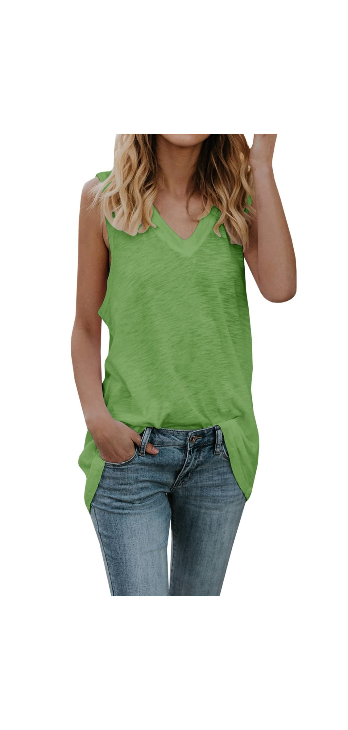 Womens Sleeveless Tank Tops V Neck T-shirts Casual Fit