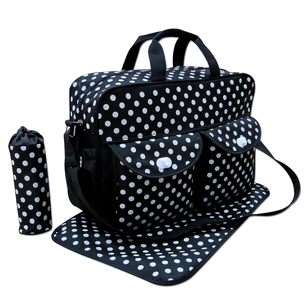 3pcs Black Colour White Polka Dots Baby Diaper Nappy Changing Bag Set E Polka Dot Just4baby