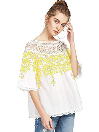 f722322187bfe Romwe Women s Cold Shoulder Floral Embroidered Lace Scalloped Hem Blouse Top  White Yellow XS