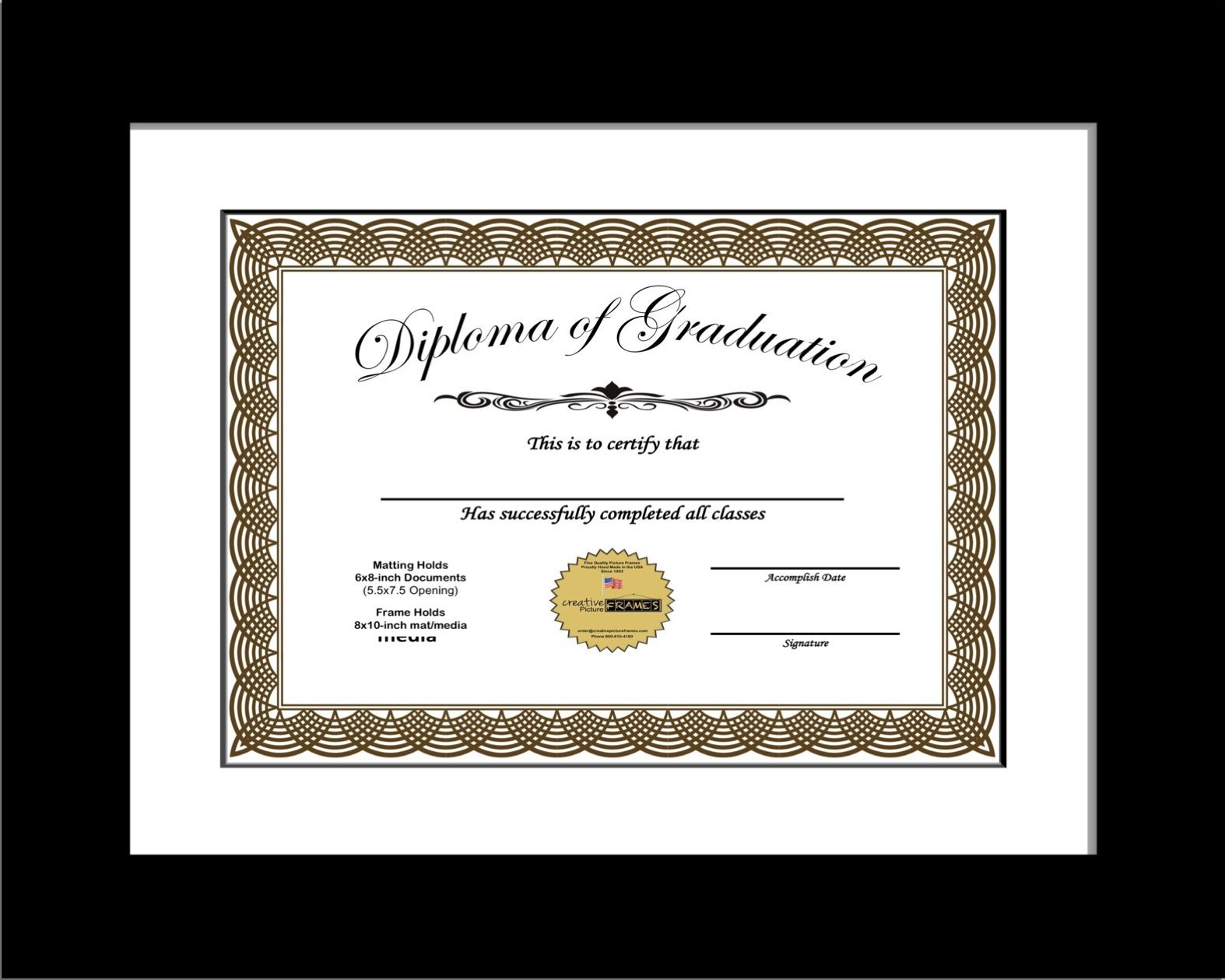 CreativePF [6x8-1-8x10bk-w] Black Diploma Frame with White Matting | Holds 6x8-inch Documents with Stand and Wall Hanger