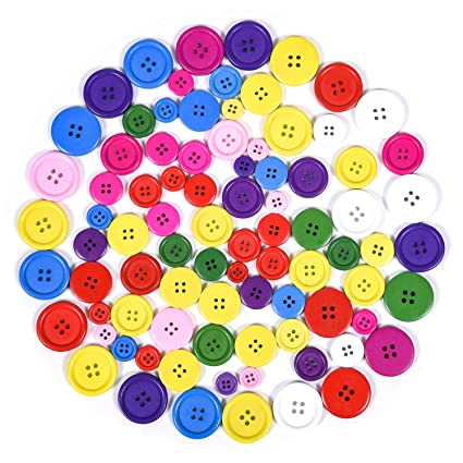200pcs Mixed Round 2 Holes Flat Buttons for Sewing Crafts Scrapbooking 15mm