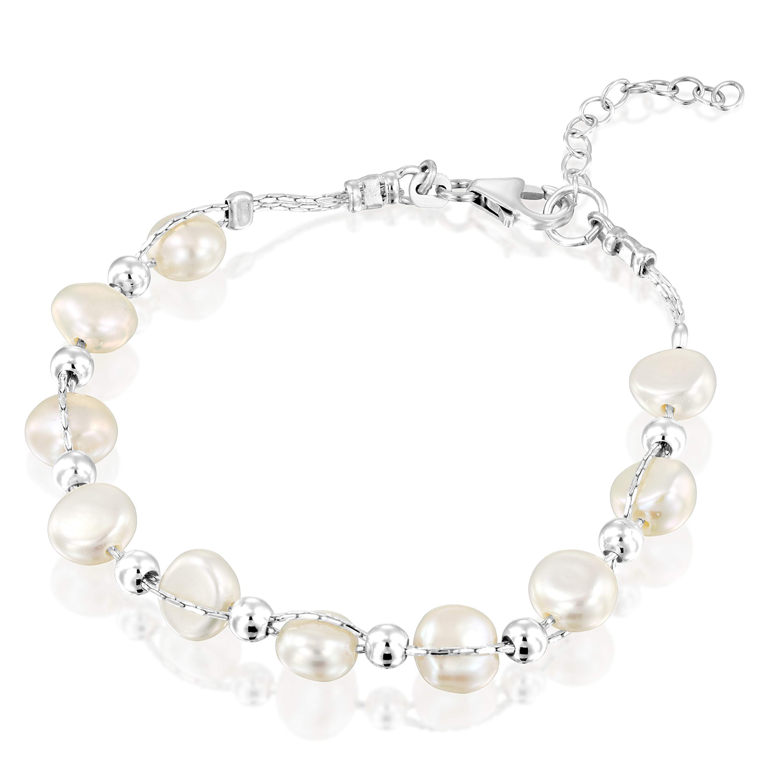 Interwoven Cultured White Pearls and Sterling Beads Silver Bracelet 7.3'' plus 1.2'' extention by DiDaDo