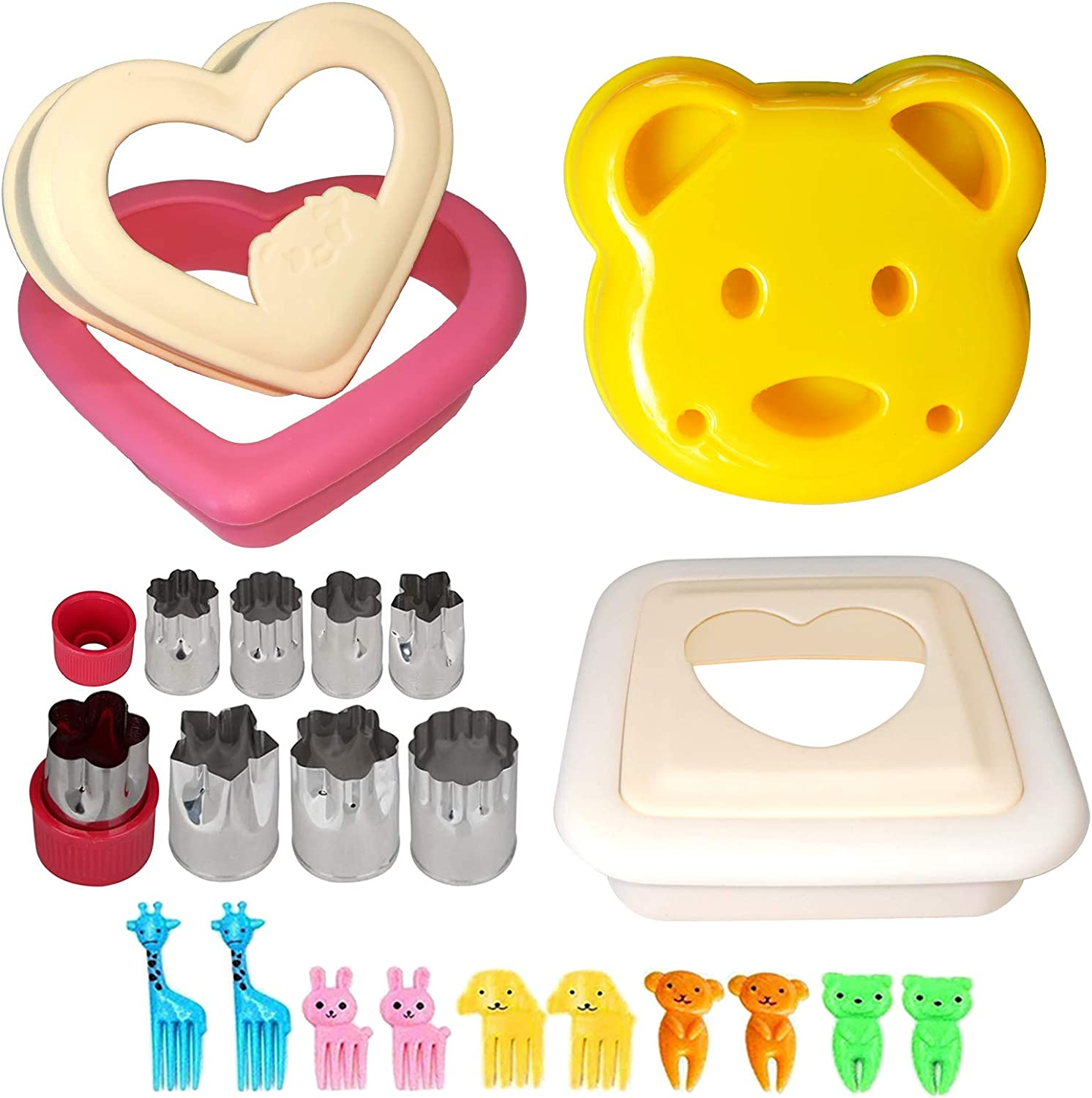 Sandwich Cutter and Sealer, Uncrustable Sandwich Maker - Bread Crust Remover with Mini Cookie Vegetable Fruit Cutters and Food Pick forks, Perfect for Boys and Girls Kids Lunchbox and Bento Box