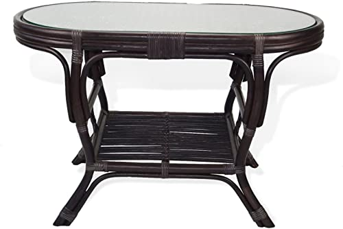 SunBear Furniture Pelangi Coffee Oval Table with Glass Top Natural Rattan Wicker ECO Handmade Design, Dark Brown