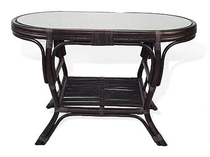 Beau Pelangi Coffee Oval Table With Glass Top Natural Rattan Wicker ECO Handmade  Design, Dark Brown