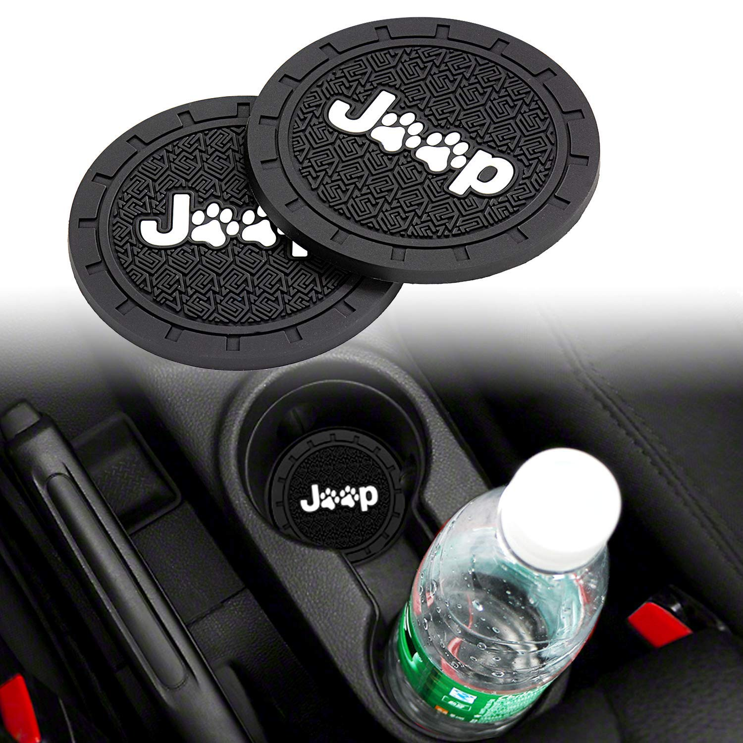 Lipctine 2PCS 2.75 Inch Car Interior Cup Holder Pad Set Round Auto Cup Holder Insert Drink Coaster fit for Vehicle SUV Truck Car