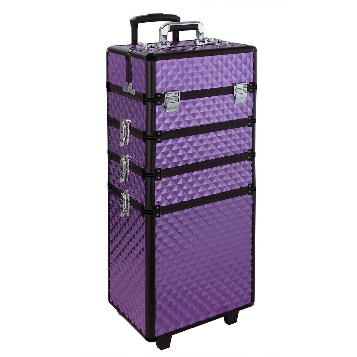 Rolling Makeup Case, Qivange 4 in 1 Aluminum Professional Makeup Trolley Case for Artists Beautician Travel Jewelry Train Case w/ 2 Wheels (Diamond Purple)