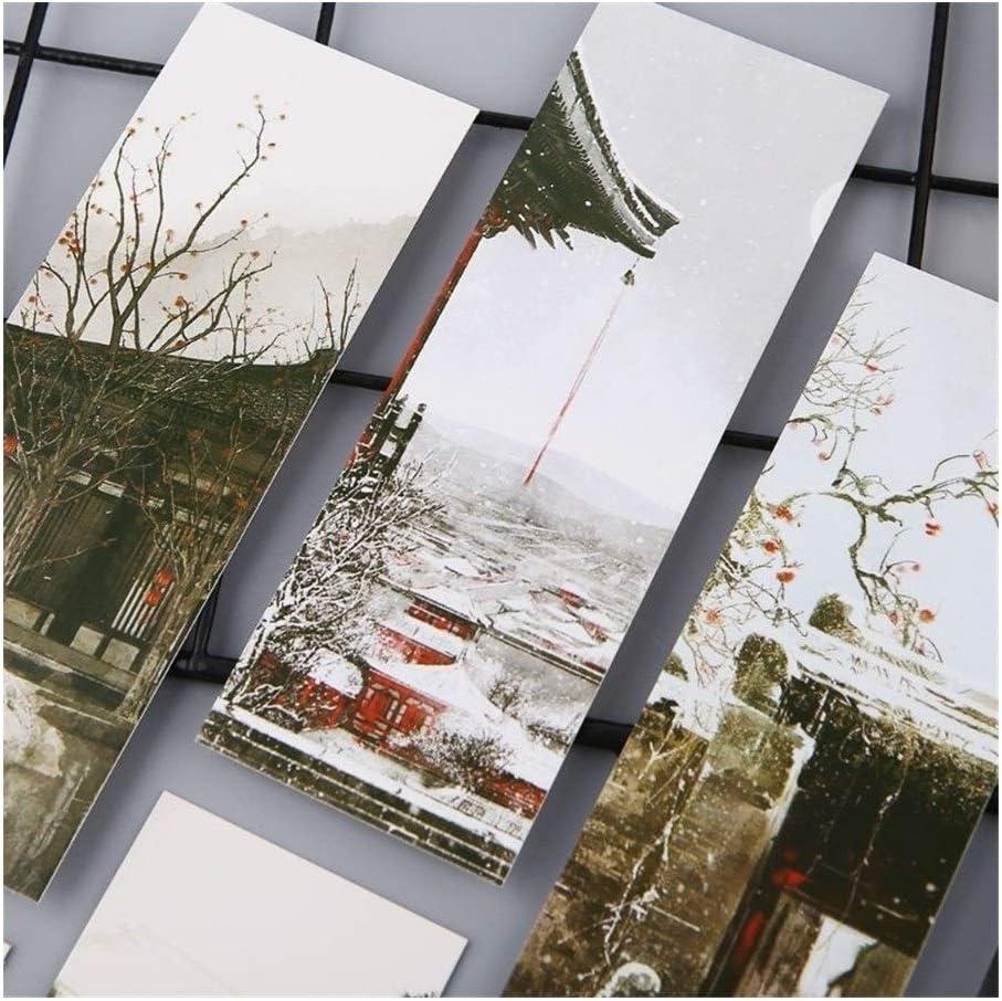 ZYJ Marcadores de Libros 30pcs Creativas del Estilo Chino de Papel Marcadores Pintura Tarjetas Retro Hermoso Regalos conmemorativos en Caja Bookmark Marcapáginas