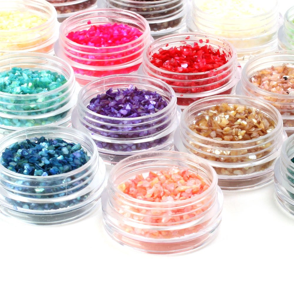 YESURPRISE Fashion 18 colors nail Art Decoration Design 3D UV Gel Shell Shiny Glitter powder Dust Rhinestone