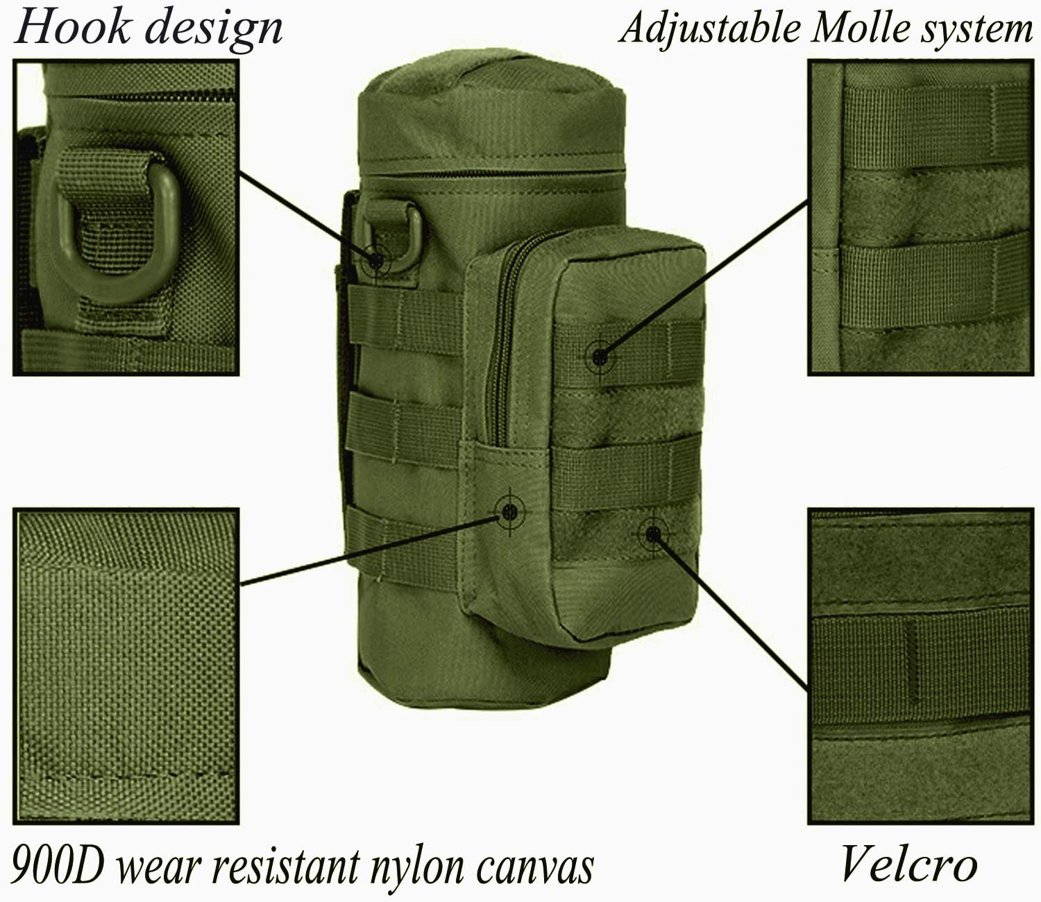 Outdoor Travel Water Bottle Pouch Military Utility Kettle Carry Bag Holder LC