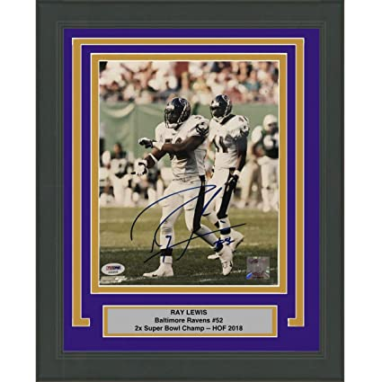 cde0623f Image Unavailable. Image not available for. Color: Framed Autographed/Signed  Ray Lewis Baltimore Ravens 8x10 Football Photo PSA/DNA ...