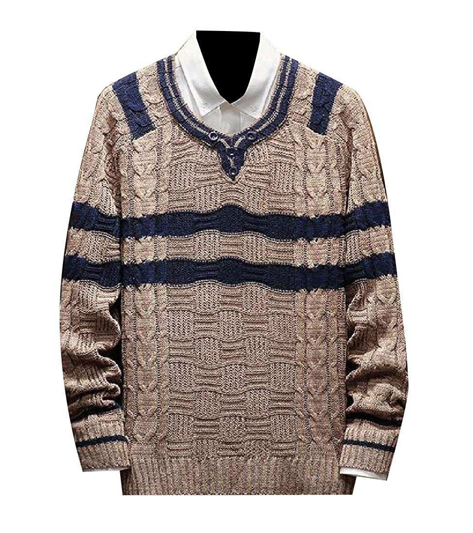 Andopa Mens Long-Sleeve Oversized Striped Casual Knit Pullover Sweater
