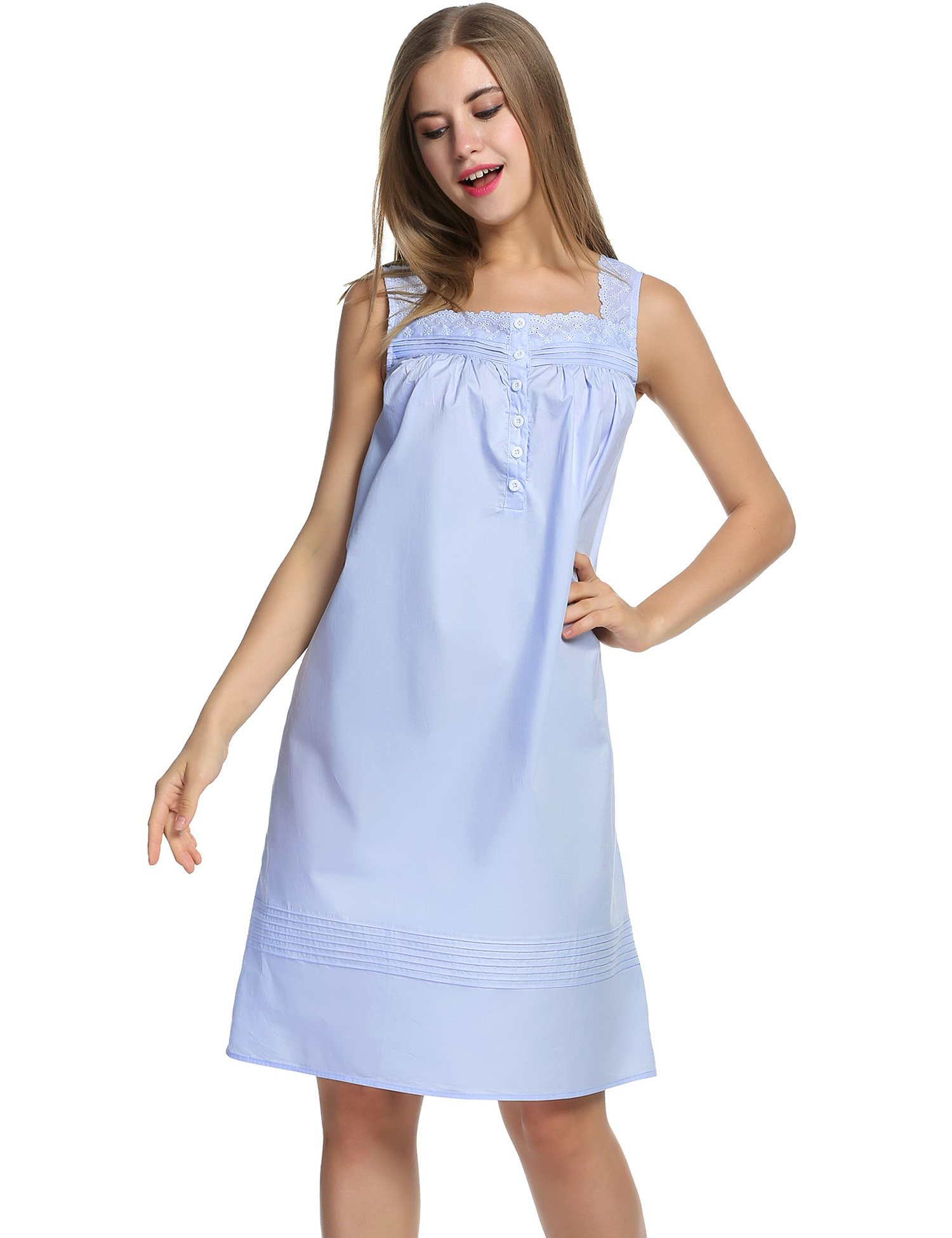 Hotouch Women's Plus-Size Sleep Shirt Lightweight Nightgowns Light Blue L by Hotouch (Image #3)