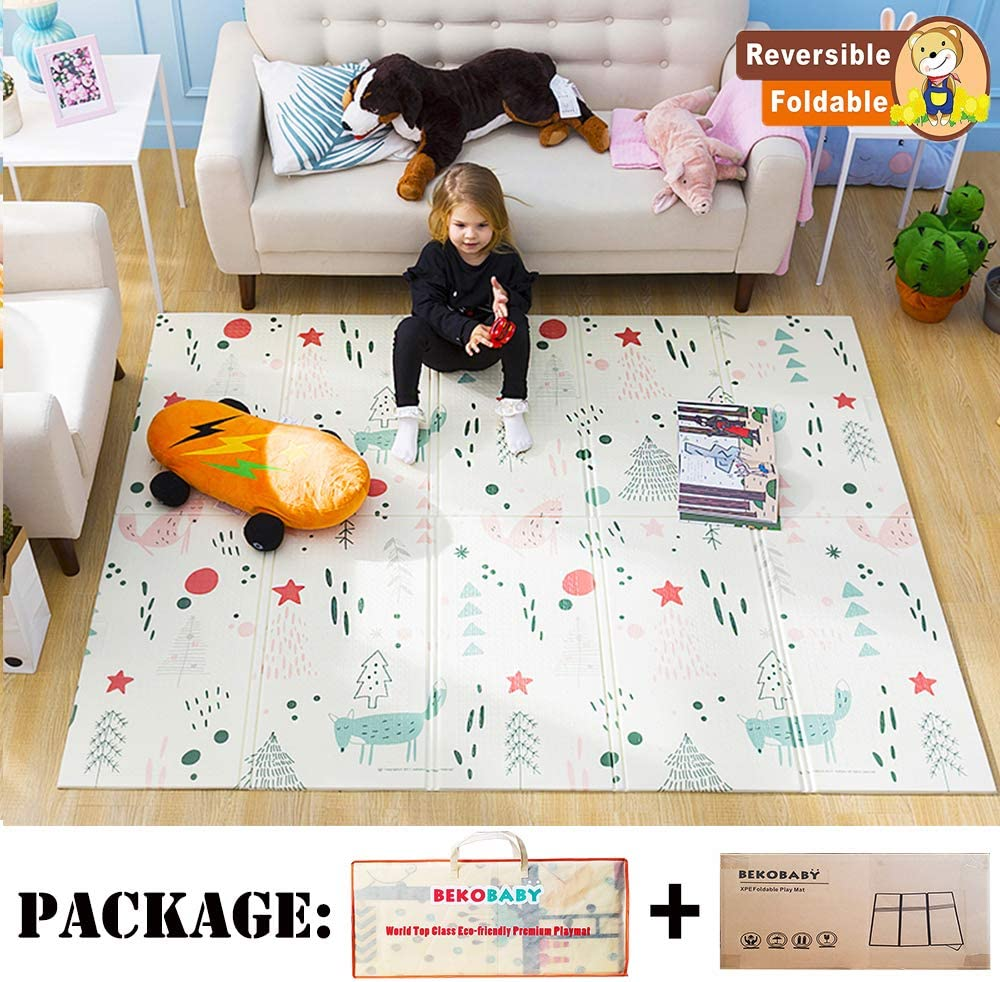 Bekobaby Baby Play Mat Xpe Foam Floor Gym Children Mats 58x77in Baby Room Folding Mat Baby Game Blanket With Carry Bag Fox Amazon Ca Baby