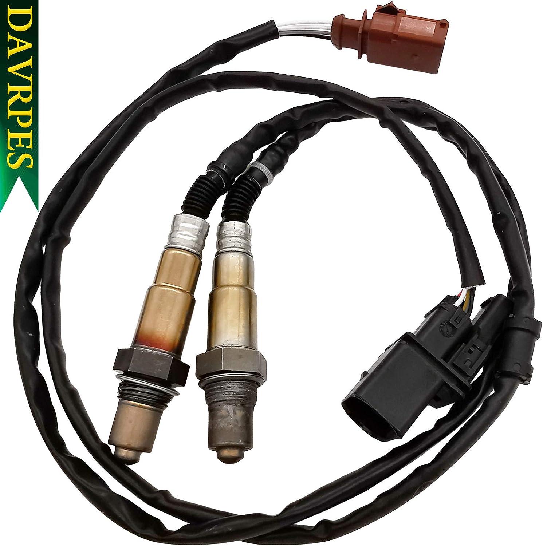 DAVRPES 2Pcs 17014 & SG1170 Upstream AFR Oxygen Sensor 1 Downstream O2 Sensor 2 RLX# 0258007057 234-4808 For Audi A4 A4 Quattro 2001-2005, Volkswagen Golf 2002-2006 Jetta 2002-2005 Beetle 2002-2004