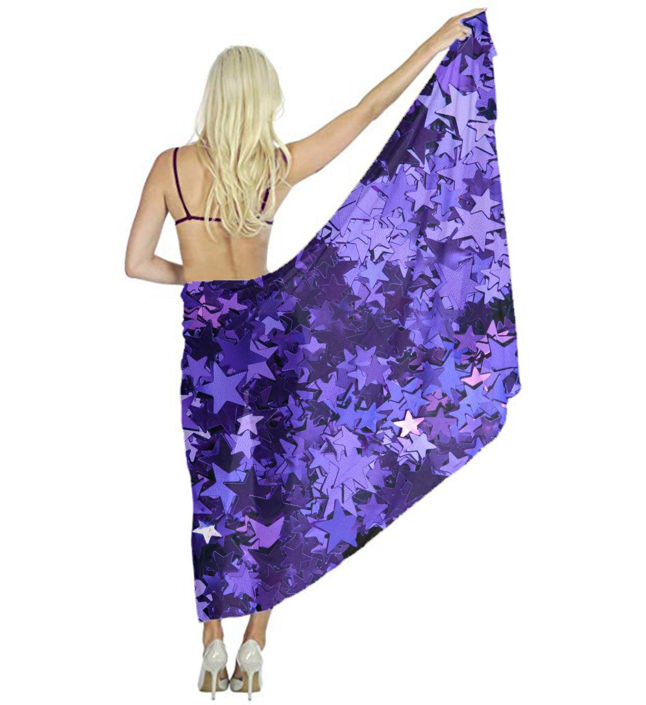 Women Large Soft Shawl, Purple_Foil_Stars Desert Scarf Wrap, Dress Silk Shawl