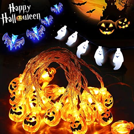 halloween string lights 21ft 60 led seasonal lights string battery operated waterproof bat ghost pumpkin - Battery Operated Christmas Yard Decorations