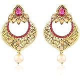 I Jewels Gold Plated Traditional Kundan Earrings for Women E2332Q (Pink/Rani)