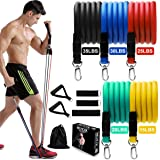 BERCOL Resistance Bands Set, 11 Piece Exercise Bands with Large Handles, Door Anchor, Out Portable Home Gym Bands Resistance, Suitable for Leg, Arms,Yoga, Gym Training (Stackable Up to 125 lbs)