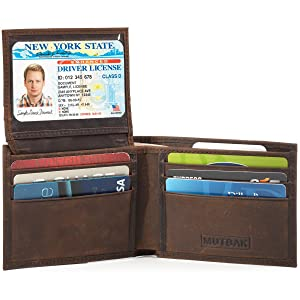 MUTBAK Shadow - Passcase Leather Wallet, Tile Slim Pocket, RFID/NFC Blocking