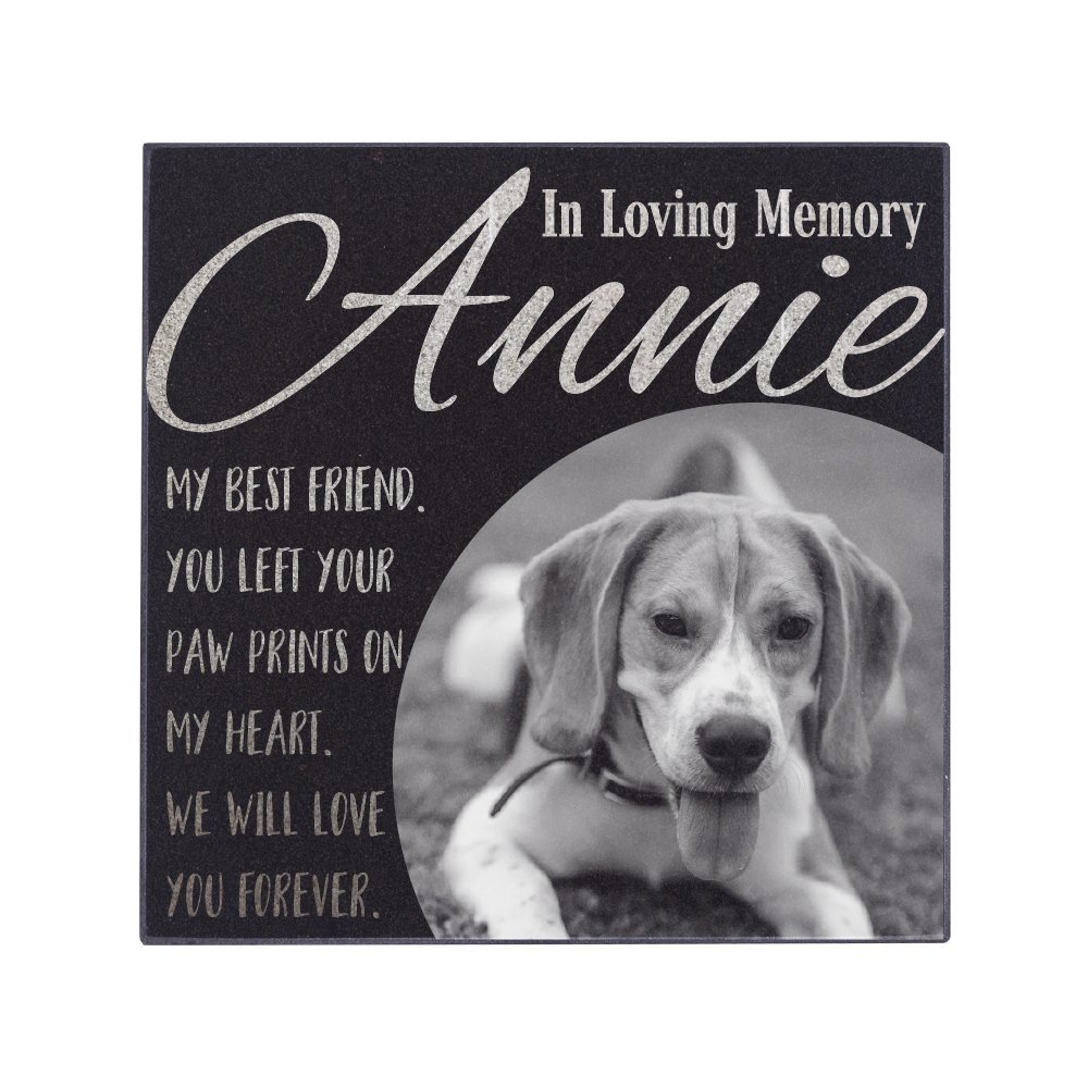 P Lab Personalized Granite Pet Memorial Stone w 'Your Pet Photo' Customized Tombstone - Loss of Pet Gift- Indoor Outdoor Dog or Cat For Garden Backyard 6'' x 6'' #1