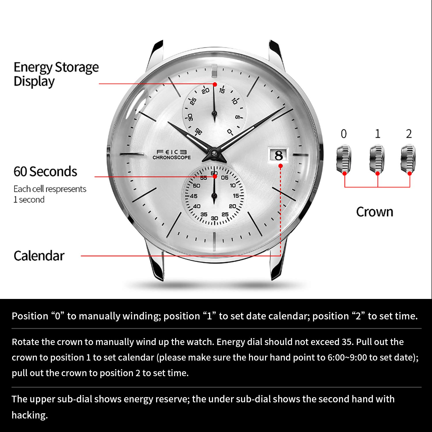 Amazon.com: FEICE Mens Automatic Watch Mechanical Watch Stainless Steel Leather Band Watches Analog Curved Mirror Brushed Finish Casual Dress Watches for ...