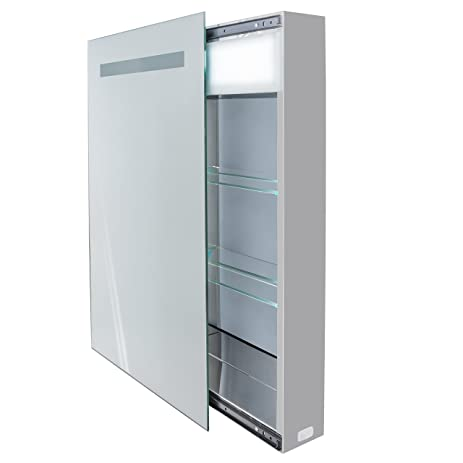 LED Medicine Cabinet 18 Inch X 30 Inch   Lighted Sliding Mirror Includes  Electrical Outlet