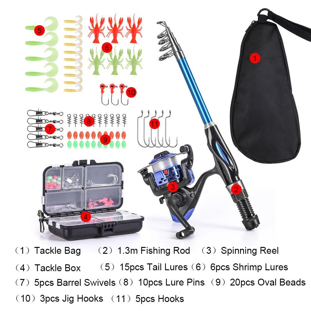 Lixada Blusea Canne /À P/êche Bobine Combo Kit Complet 1.3m T/élescopique Canne /À P/êche Spinning Reel Set avec Crochets Leurres Doux Tonneau Pivots Sac De Rangement