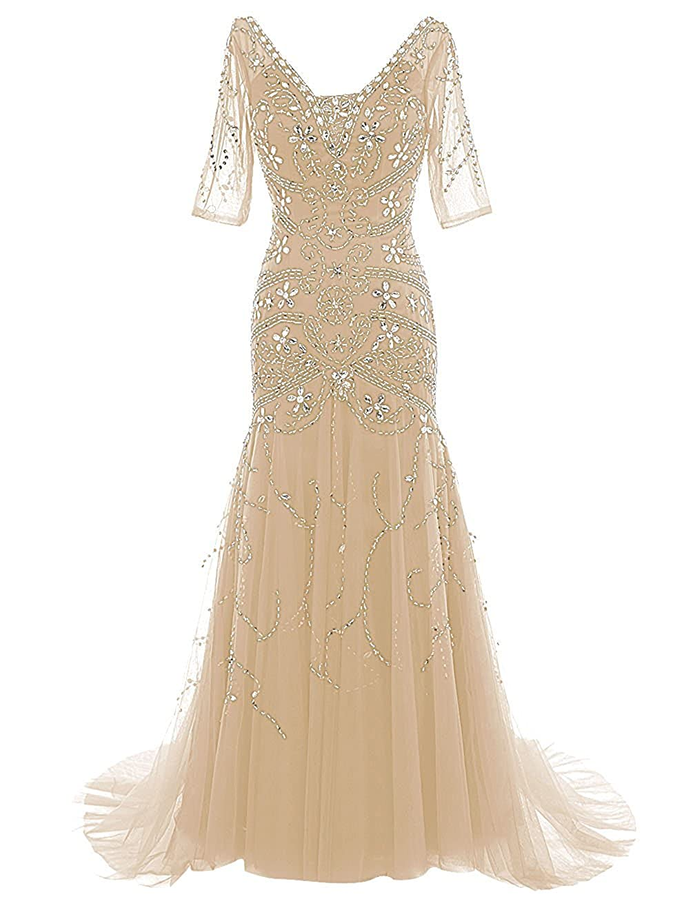 Champagne Ellenhouse Mermaid Beaded Mother of Bride Dress with Sleeves Prom Gowns EL081