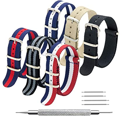 5e5316e15 Amazon.com: MEGALITH NATO Strap 6 Packs 16mm 18mm 20mm 22mm 24mm Nylon  Watch Band Premium Ballistic Zulu Watch Straps for Men Women with Stainless  Steel ...