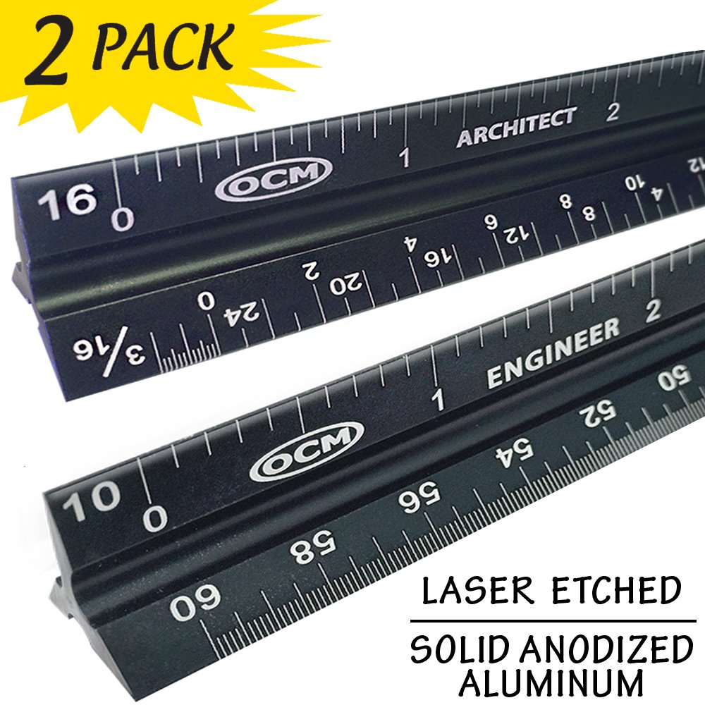OCM 2 Pack - Laser Etched Engineer & Architect Ruler - Anodized (Solid Extruded Aluminum) Imperial Scales 12 inches - Civil, Engineering, Architectural, Mechanical, Drafting