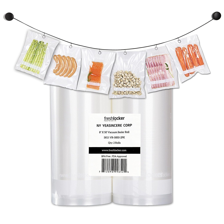 Freshlocker Food Saver Vacuum Sealer Bags , 4 Mil 2 Roll 8''x50' Commercial Grade Bag Rolls for Foodsaver , Sous Vide VR0850